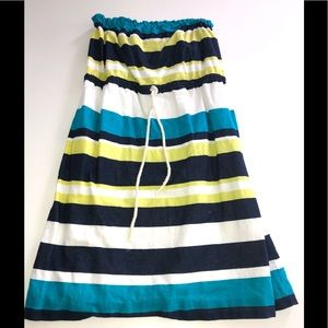 Gap strapless dress stripe linen s